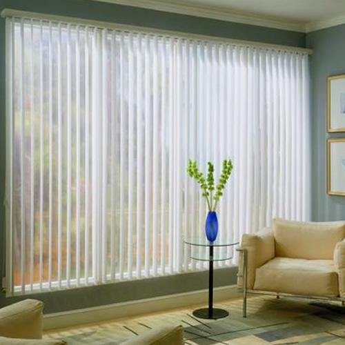 Vertical Blinds   The appeal of fabric drapes with the ease of vinyl maintenance. They optimize privacy and darkness with a linear look. Great for large windows, French doors, and sliders as well as large commercial windows.