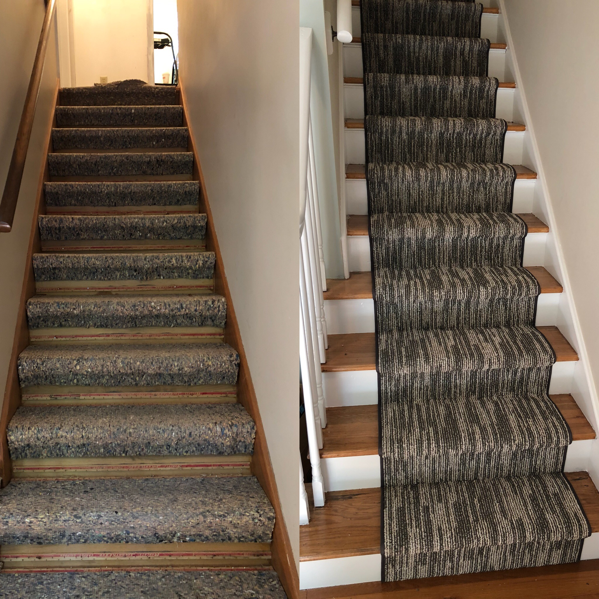 here is a side by side view of what were all about here at coastal concepts. upon tearing out an old wall to wall carpet on a flight of staris in westbrook, ct- we found some beautiful hardwood floors! we ditched the wall to wall carpet and refinished and painted the steps & Treads and laid this BEAUTIFUL bound runner to absorb some of the traffic. (we love supporting local business and we use a local bindery for all of our binding and surging needs!)