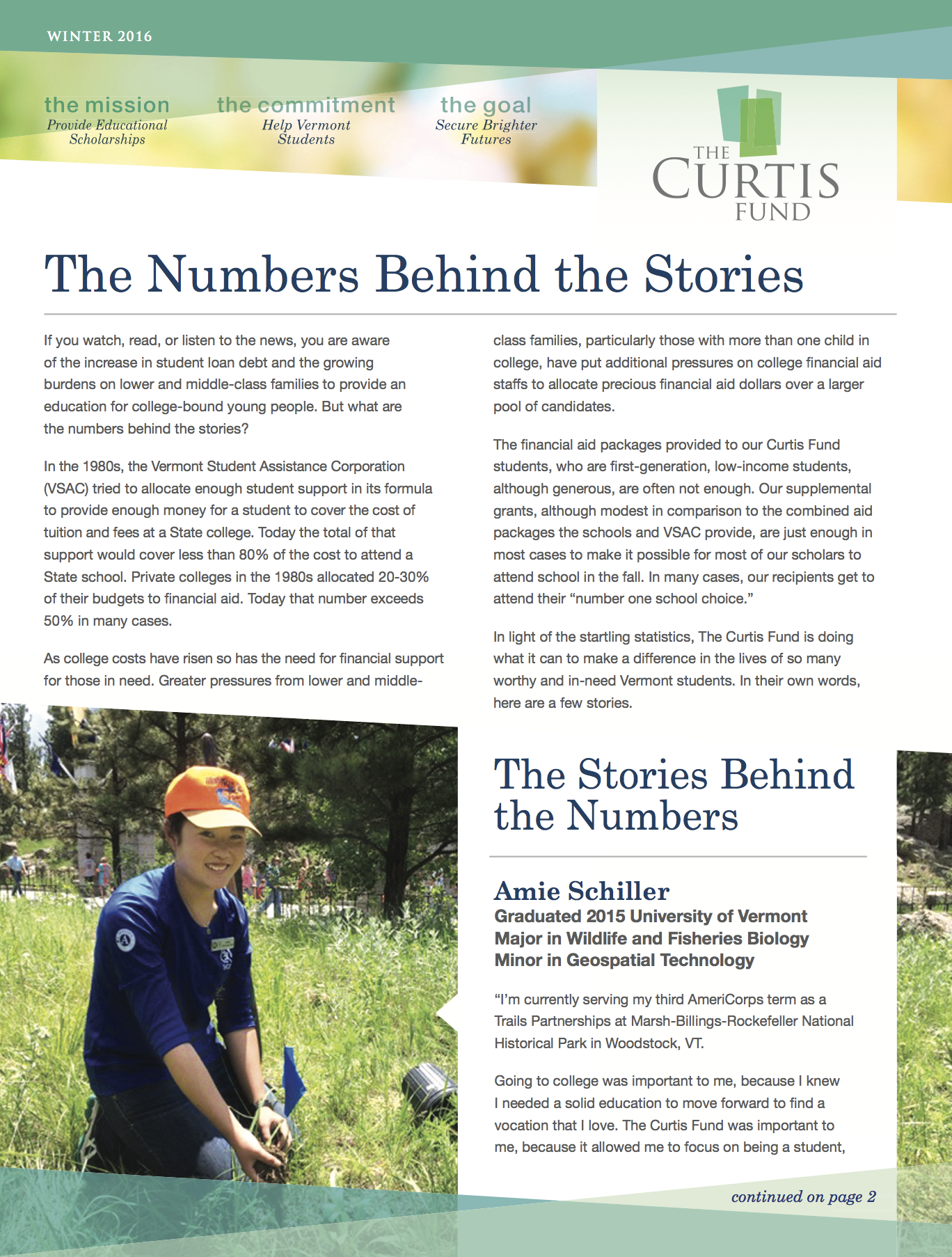 winter 2016 curtis fund newsletter cover