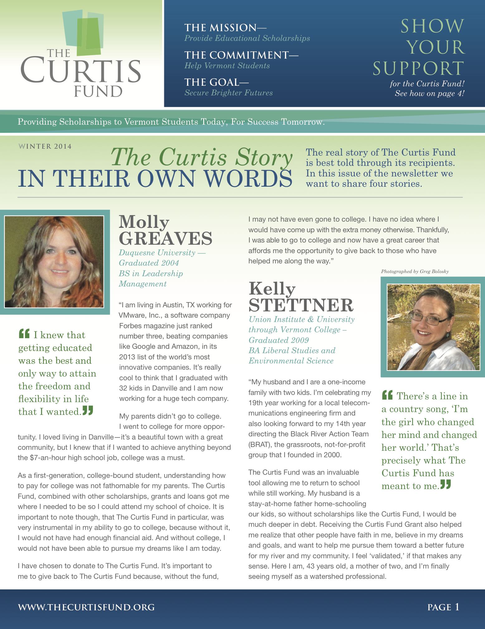 winter 2014 curtis fund newsletter cover