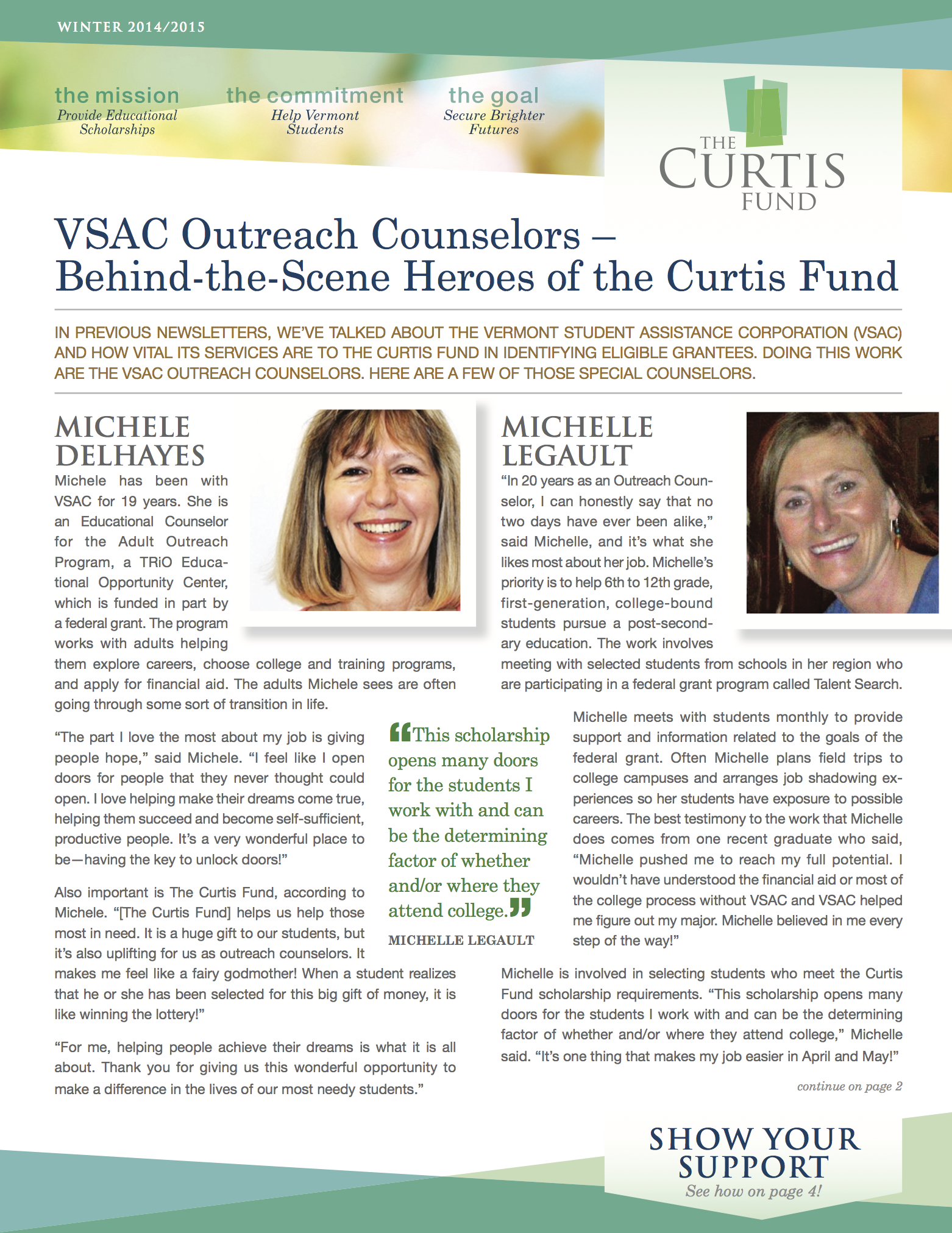 winter 2014/15 curtis fund newsletter cover