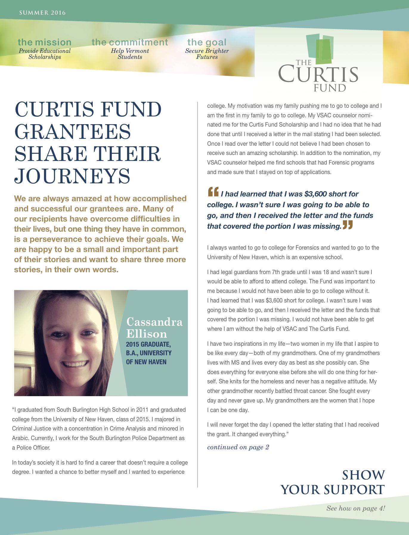 summer 2016 curtis fund newsletter cover