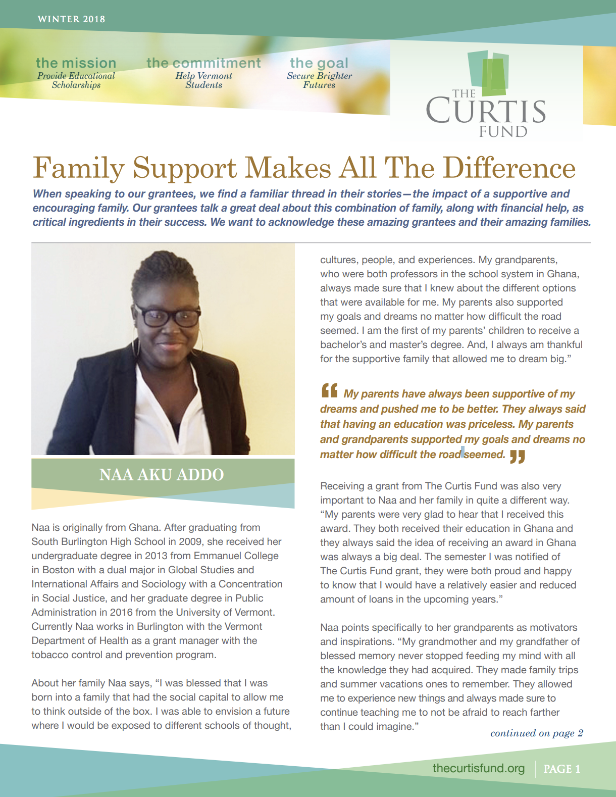 The Curtis Fund Winter 2018 Newsletter Cover
