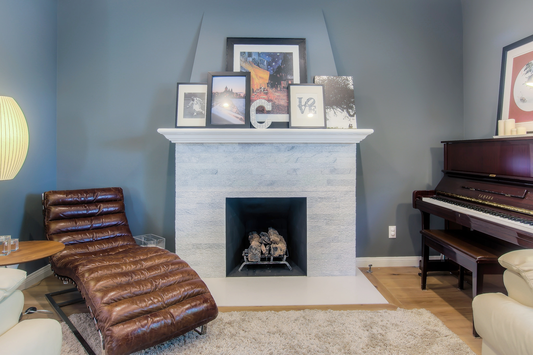 Culver City bold and colorful living room and fireplace