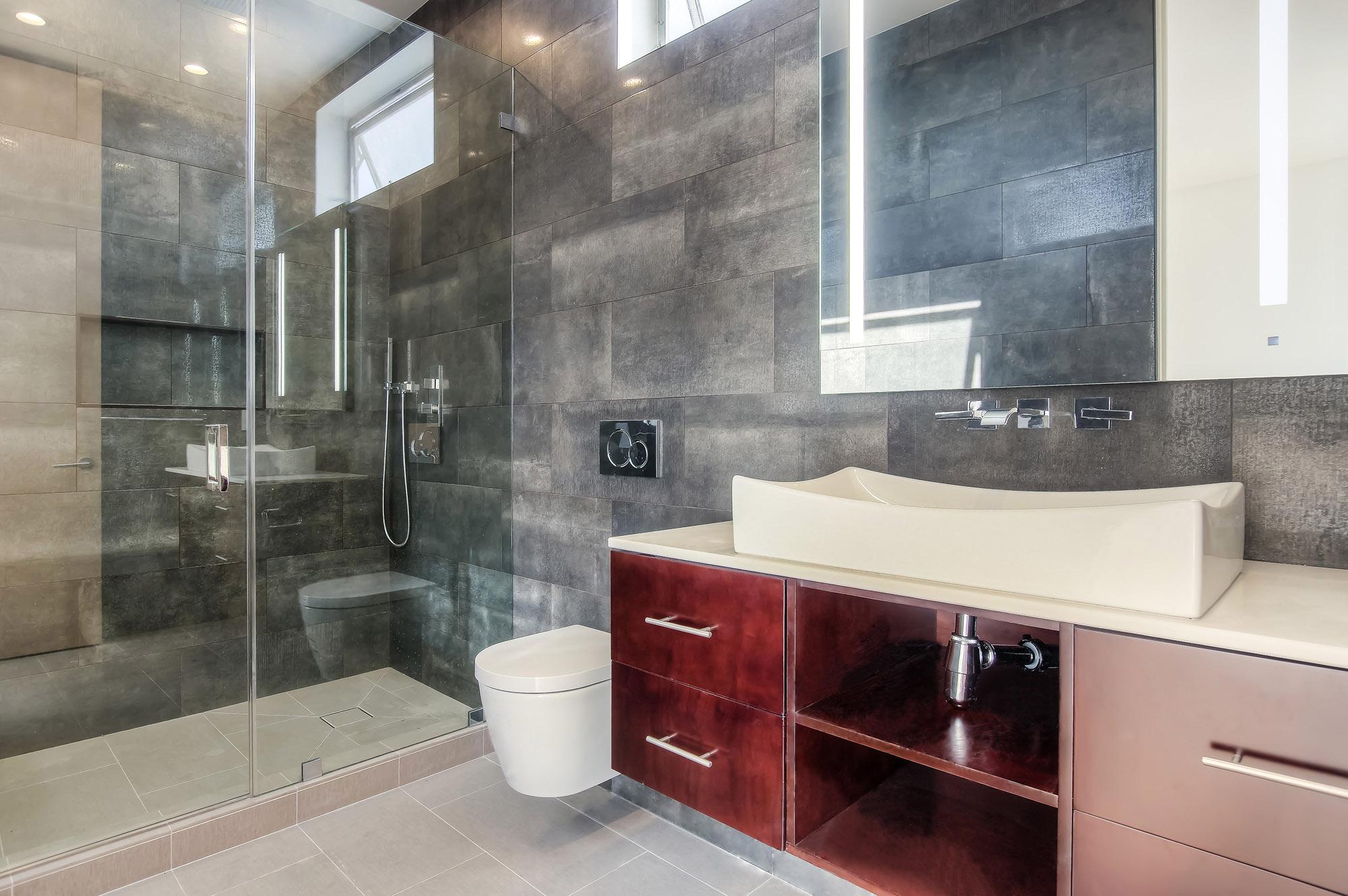 Modern Hancock Park master bathroom remodel
