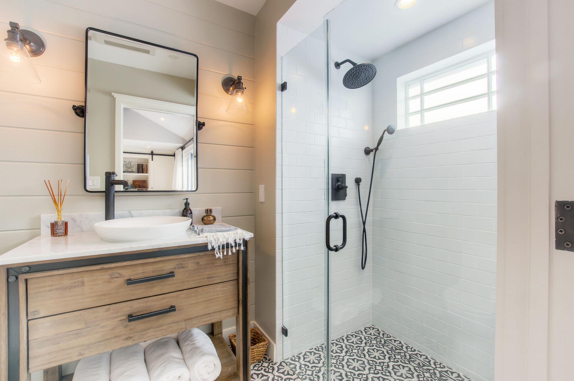 Modern farmhouse style bathroom in Santa Monica