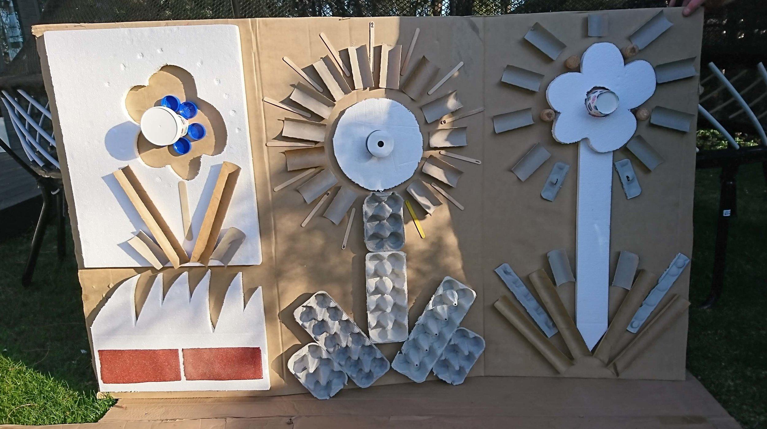cardboard art wall