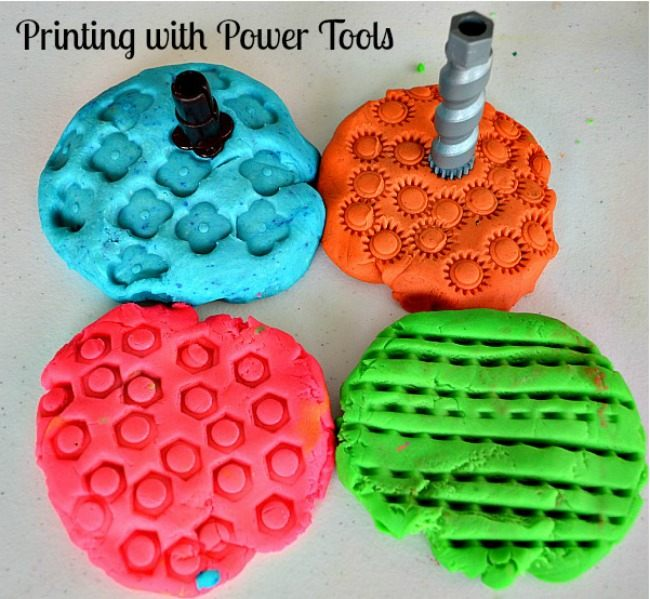 POWER TOOL BITS PRINTS ON PLAYDOUGH