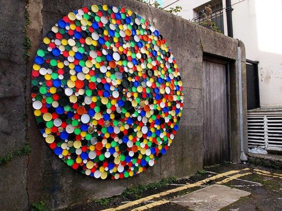 Recycled lids colour wheel wall art