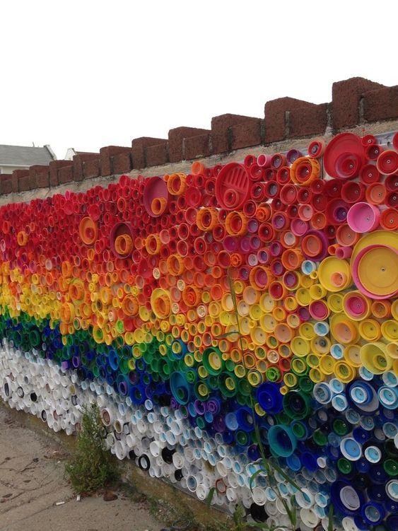 Rainbow Wall Plastic Lid Collage
