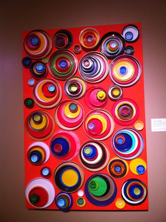 Kandinsky's circles recycled lids canvas