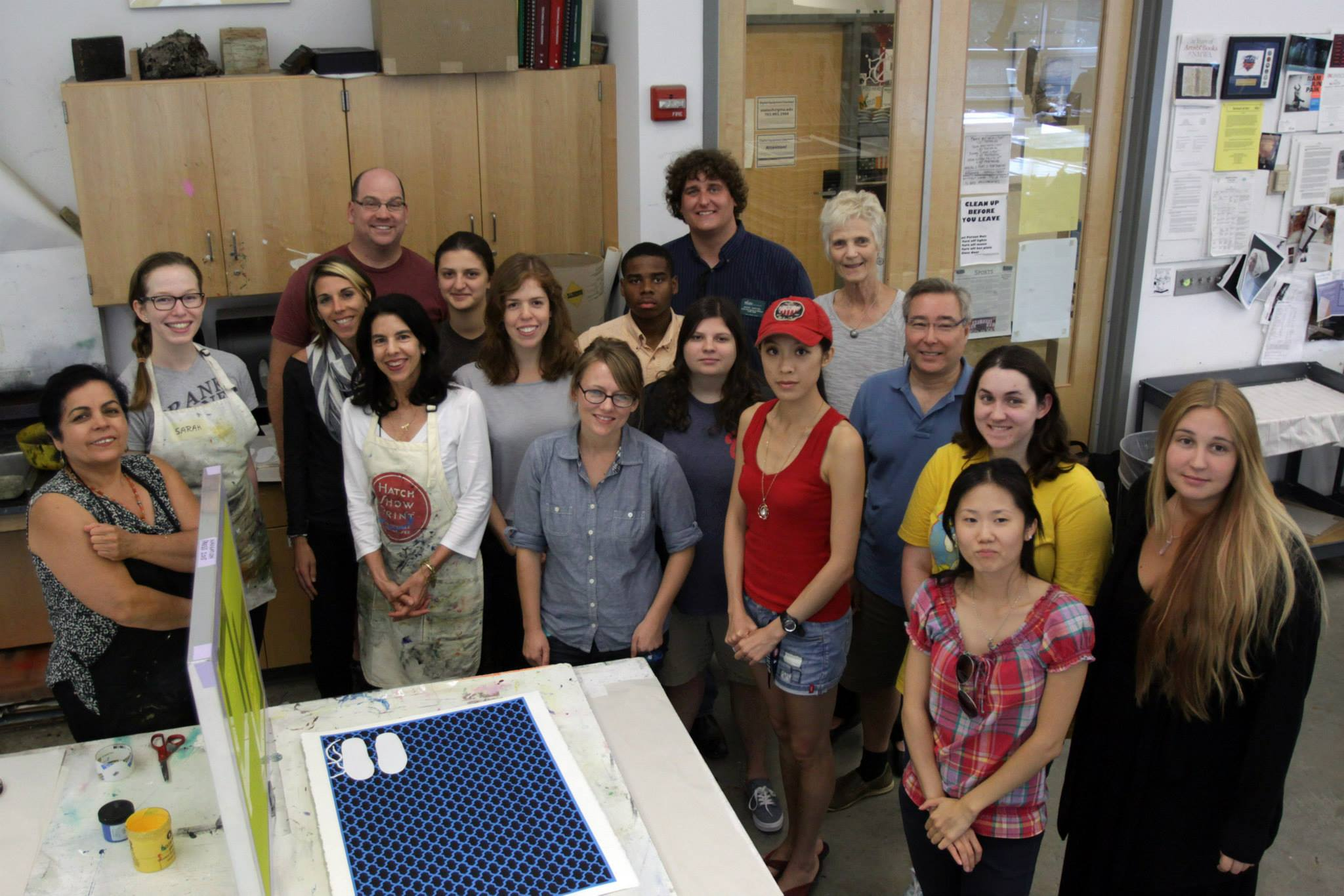 GMU students and faculty with 2015 artist Helen Zughaib.