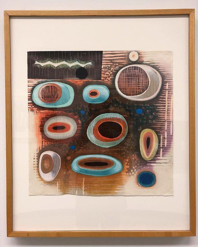 "Recently installed this print by Karen Kunc, our 2008 resident artist, in the hallway at George Mason University. ""Seeding Jewel"" ...20"" x 20""  #NavigationPress #Woodcut #print #printmaking #gmu"