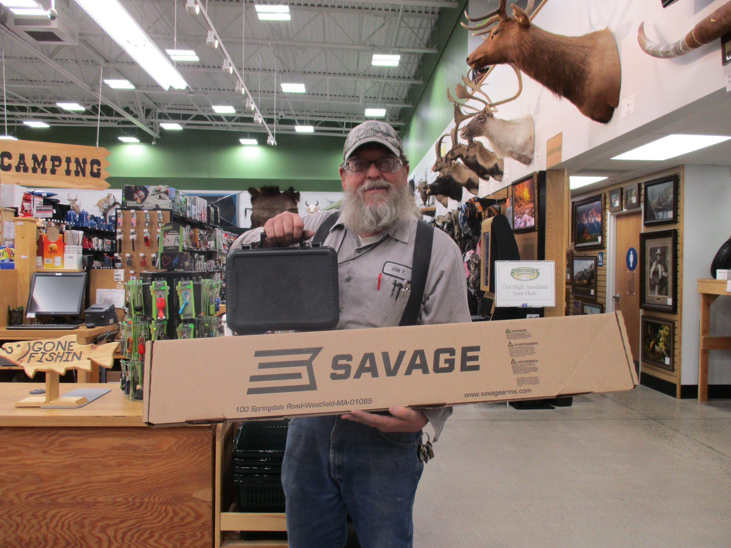 The winner of our gun raffle, Jim Tackett. This year our winner walked away with a new Savage Rifle and a Springfield Pistol. Congratulations Jim! Best of luck to everyone else next year!