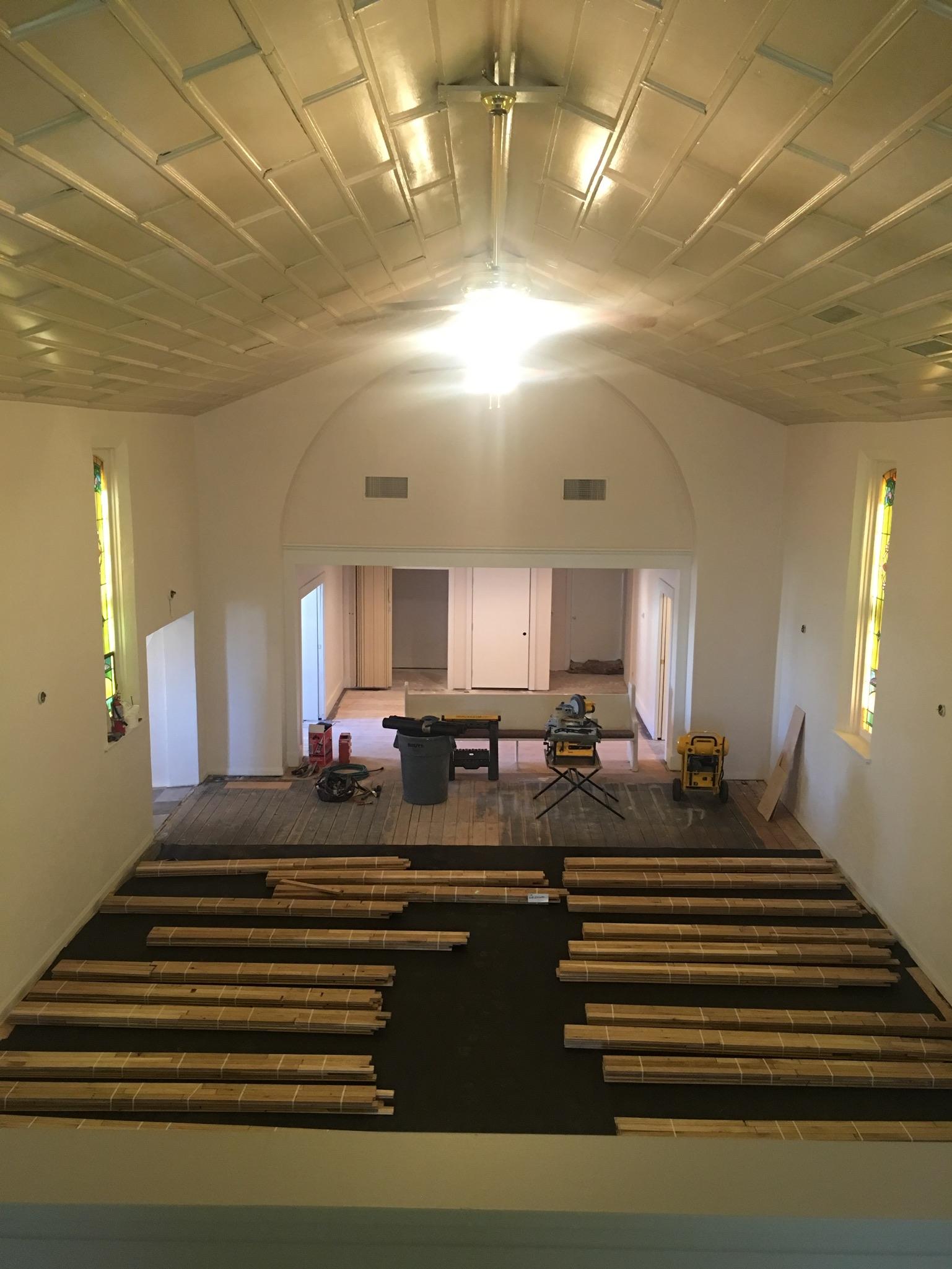 Alli Event Center, Brighton Co sanctuary hardwood floor installation.