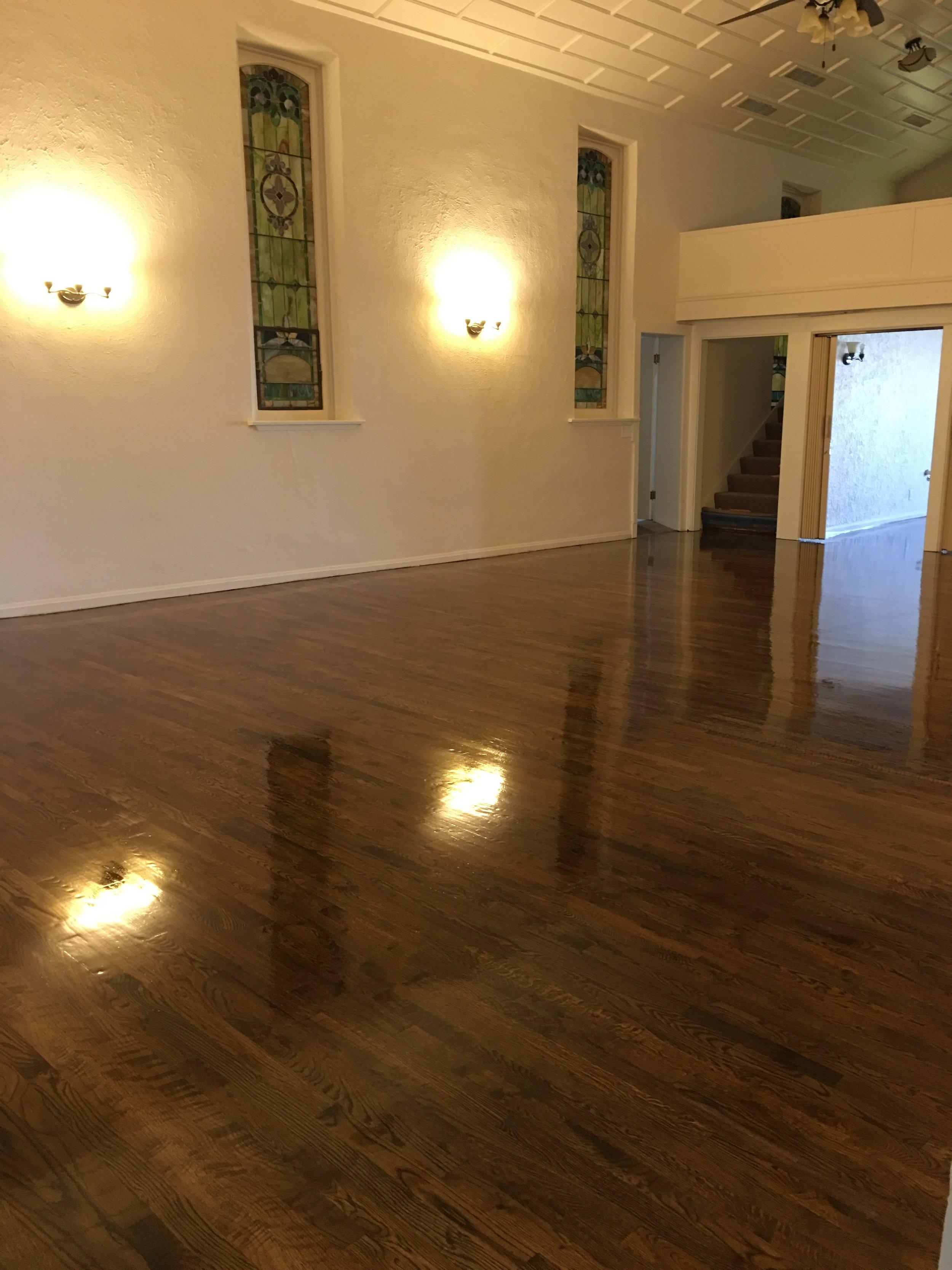 Alli Event Center, Brighton Co Sanctuary hardwood floor finish
