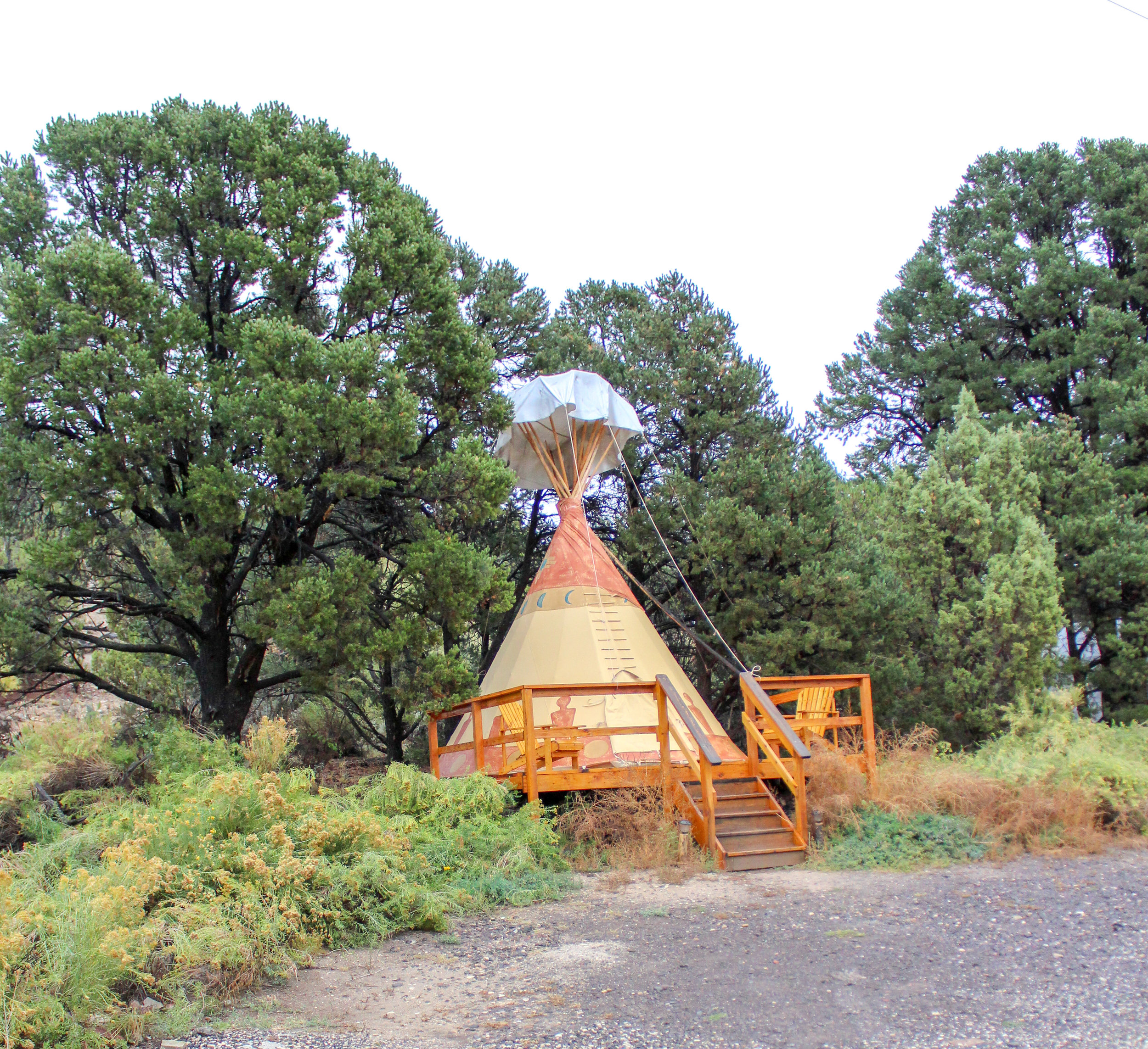 This Tipi was located next door to our cabin. You have the option to stay inside a Tipi or Cabin.
