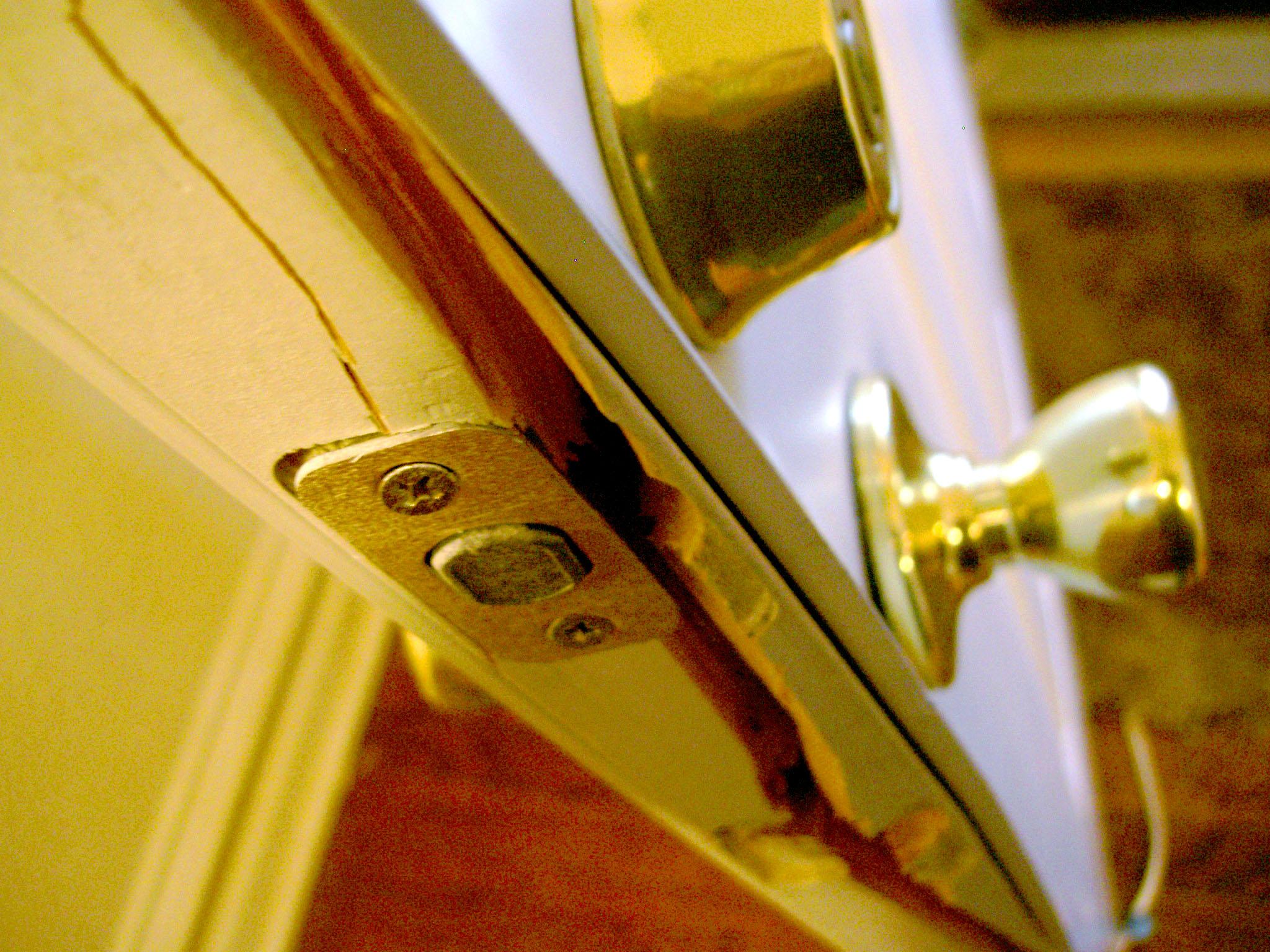 Broken entry door