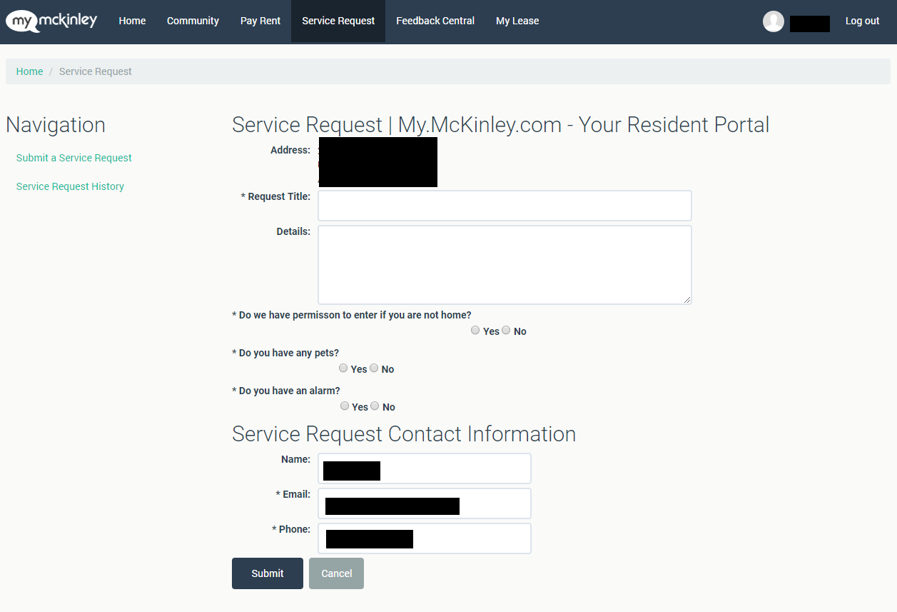 Similar to the system used in college dormitories, this request form is for non-emergency requests. - The information I've hidden is auto-filled, which means that users can save time when filling out this form.