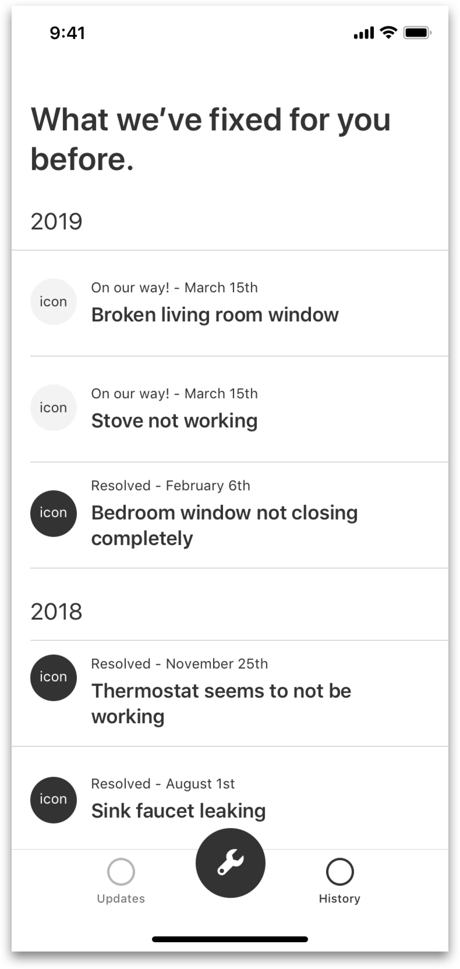 This is a history of the user's requests in list view, which can be viewed in detail upon tapping on a list item. If the list gets too long, I can perhaps use some tabs separating the list by year. -