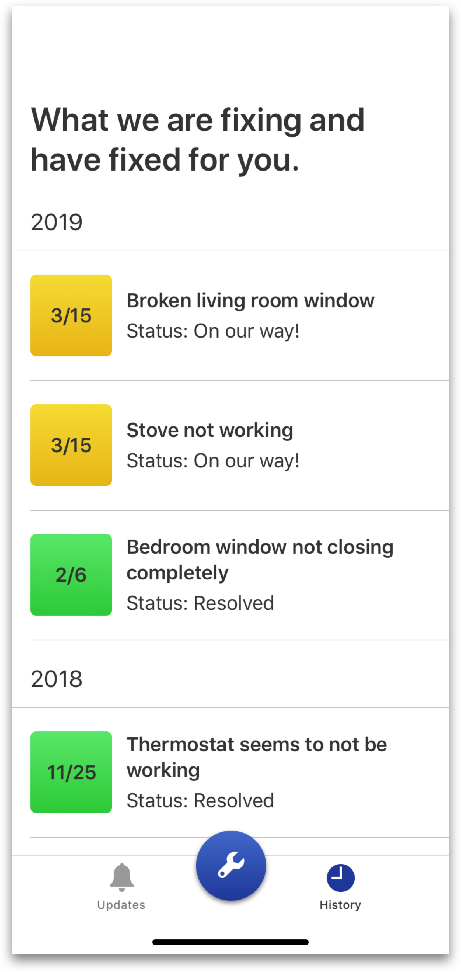 I wanted to use both text and color to show the status of all the users' requests. - However, I ultimately felt that the date of the request on the rectangles were unclear, and that the rectangles themselves were too large.