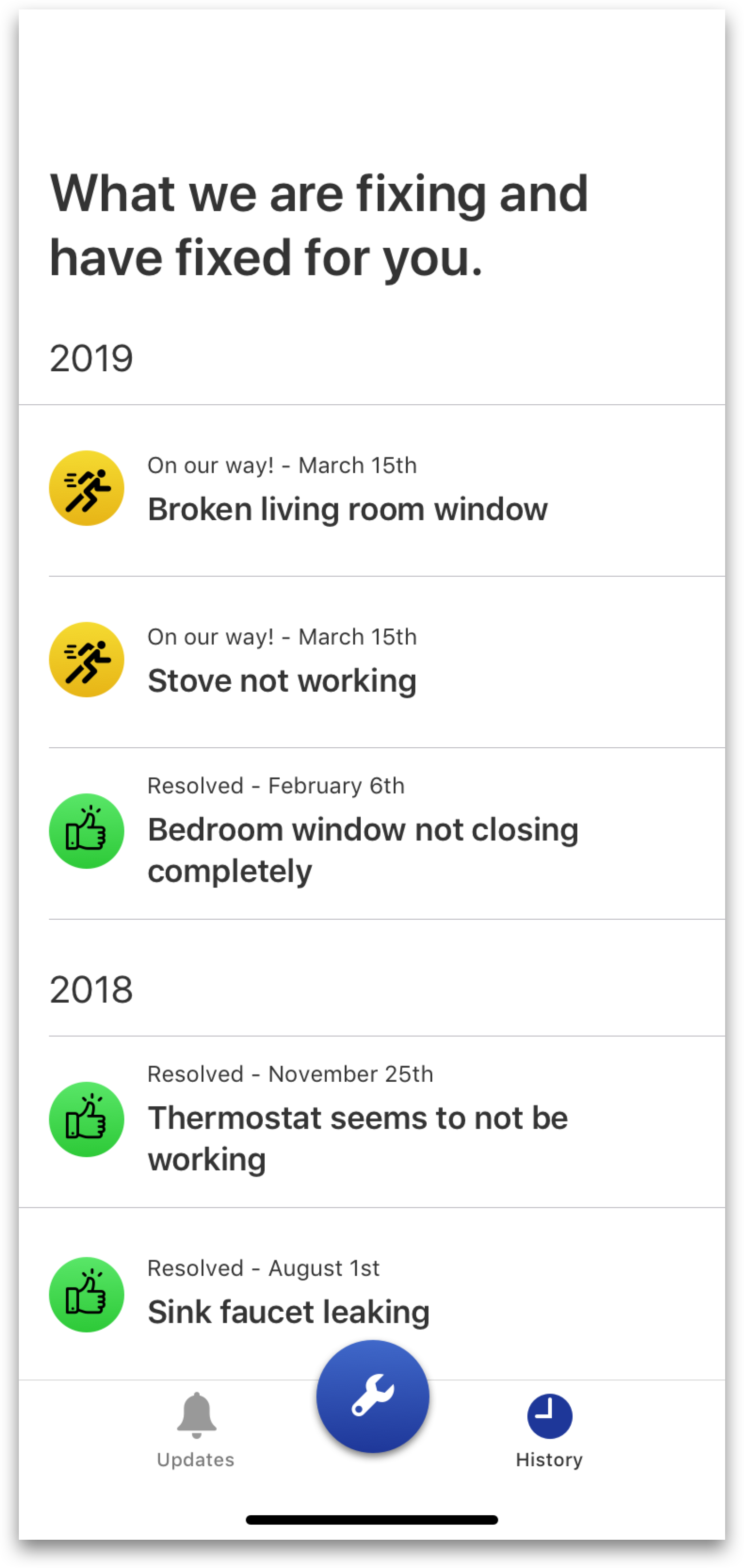 I used a caption-style text as the first line to show the request status and date. - I also made the dates clearer (3/15 vs March 15th) and used a smaller shape (circles over rectangles) with an indicative icon.