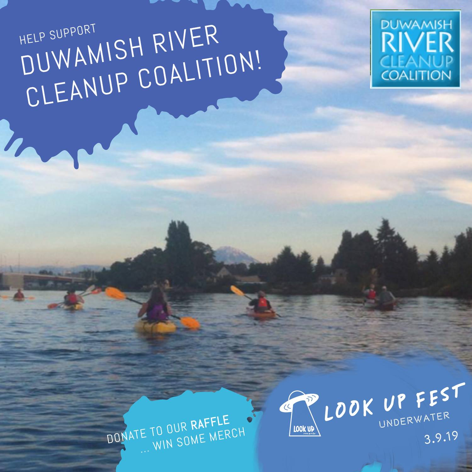 DUWAMISH RIVER CLEANUP COALITION - For this event, we will be raise donations for Duwamish River Cleanup Coalition/TAG, a cause dedicated to addressing the impact of urban development on our local environment. To help support, donate to our raffle, which will feature awesome merch from all bands involved!