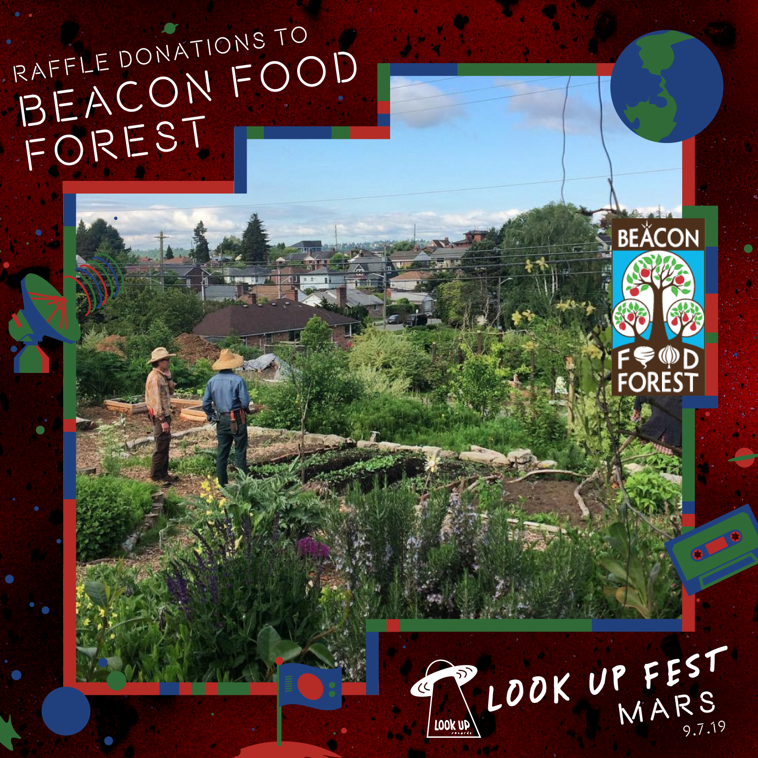 BEACON FOOD FOREST - Before we terraform Mars, there's a lot we can do to improve living ecosystems on Earth. For this event, our raffle will be raising funds for the Beacon Food Forest (BFF). The BFF is a unique open harvest model, a community-supported urban garden that's completely open to the public to forage. Their mission: