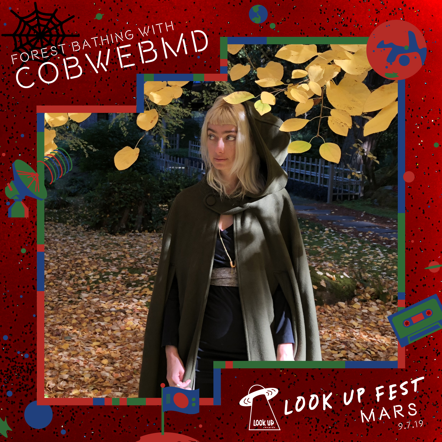 COBWEBMD - At Look Up Fest: Mars, the good witch CobwebMD will offer free guided forest bathing sessions in a little terraformed patch of the festival. CobwebMD is Emily Wittenhagen, a certified nutritionist and community herbalist based in Georgetown, Seattle, offering nutrition and herbal consultation, individual and group forest, sound & energy therapy sessions, and a network of local people recommended for body work and other forms of healing.