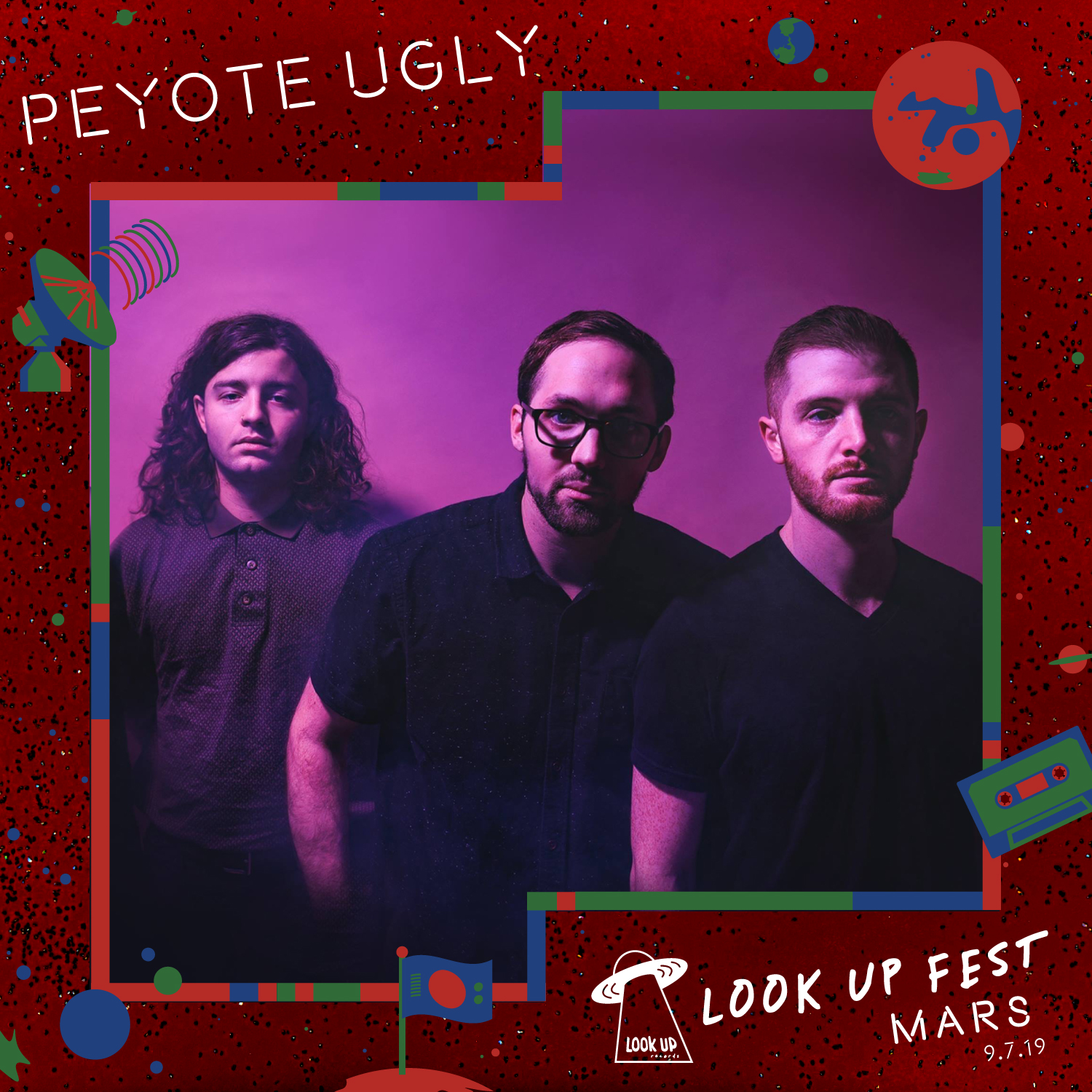 """PEYOTE UGLY - An ectodelic synth-psych threesome from Seattle. With a name like Peyote Ugly, there's no shortage of imagery that comes to mind. The synth-psych trio lives up to the hype of their moniker. The band has spent the last couple years in Seattle's dives and playing a wealth of shows as they fine-tuned the songs that would eventually become the Peyote Ugly EP. The result is a collection of songs that feel like a rare cool breeze waving through the barren desert. Not really """"ugly"""", but you can feel notes of spacey peyote in the mix."""