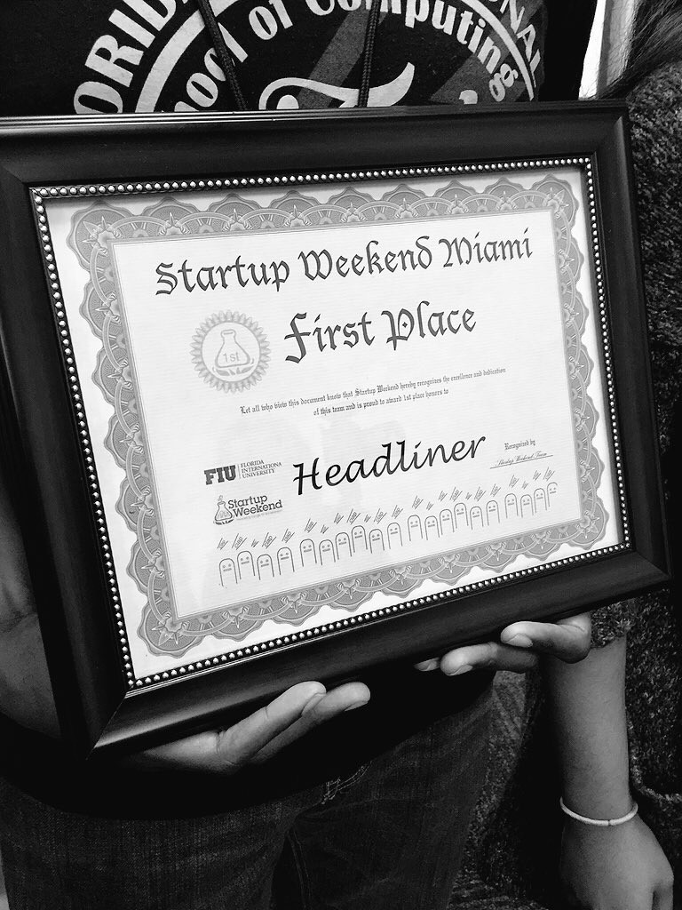 Our First Place award from Startup Weekend under our original name, Headliner.