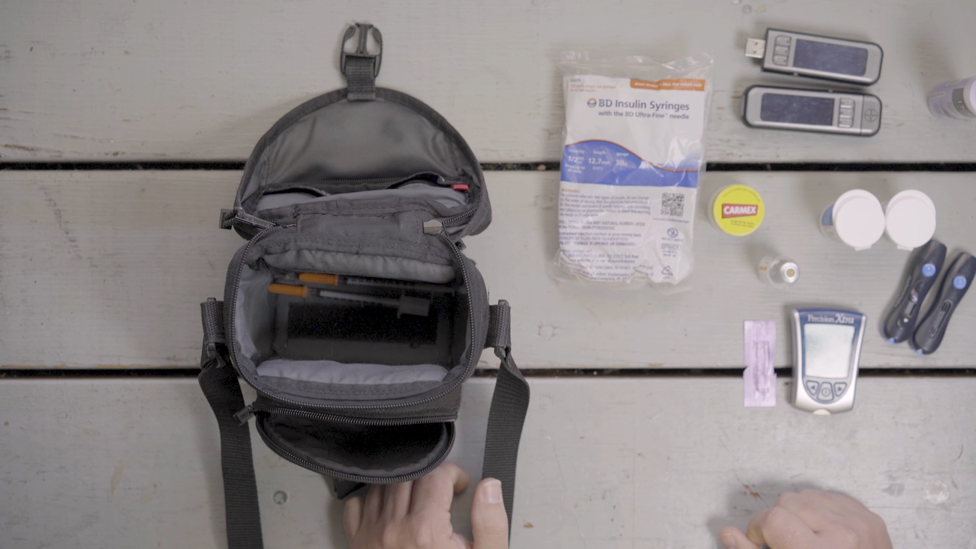 Dan uses a camera bag to keep his supplies in.