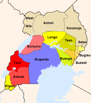 Map of Uganda from the 70s showing the general divide of tribes