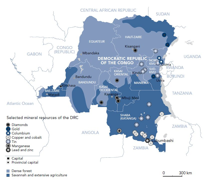 Map of mineral mining in DRC