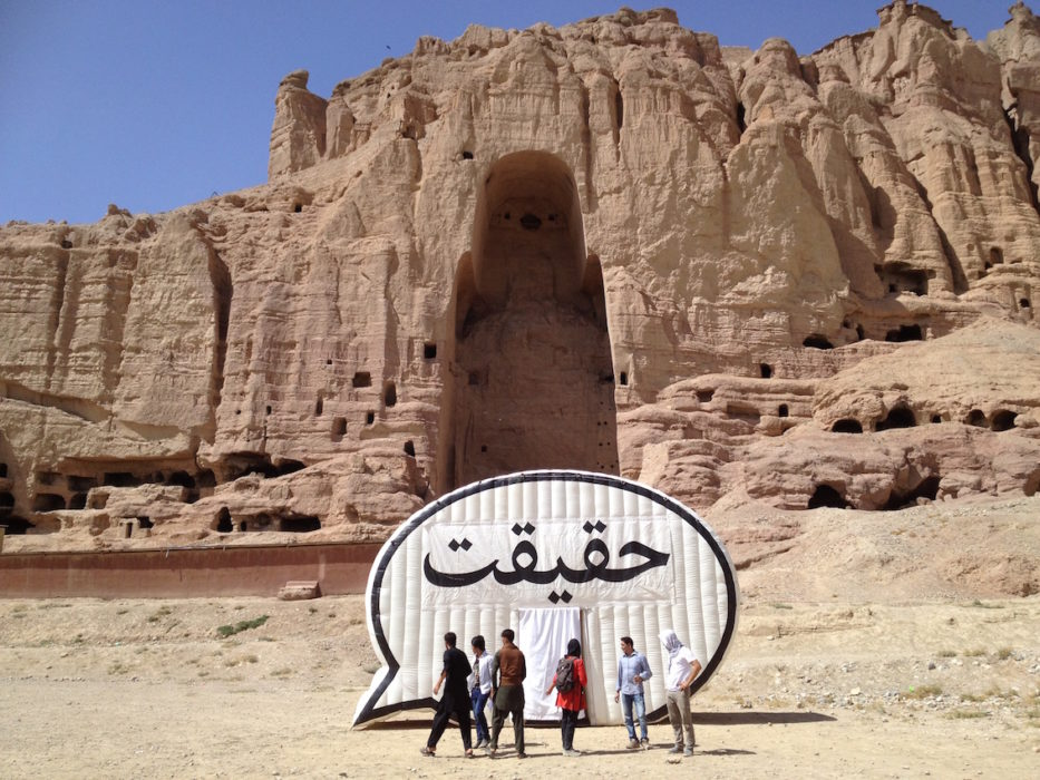 "The ""Truth Booth"" visits Bamiyan Bhudda, blown up by the Taliban in 2001"