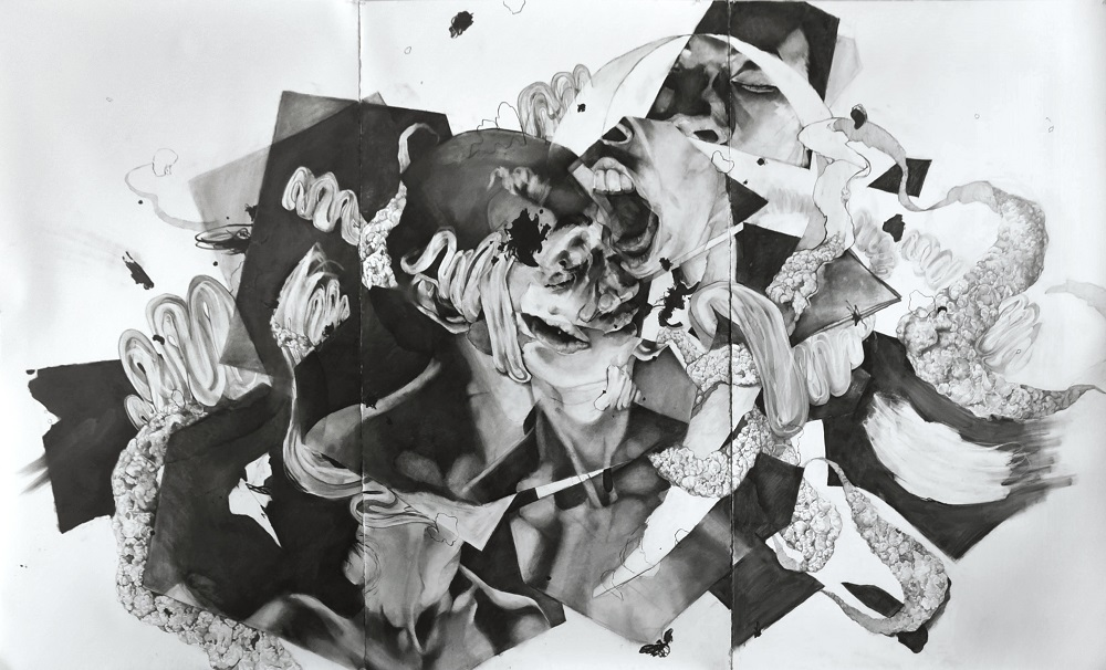 """The Head Not the Face , 76"""" x 126"""", Charcoal, marker, graphite on paper, 2016"""