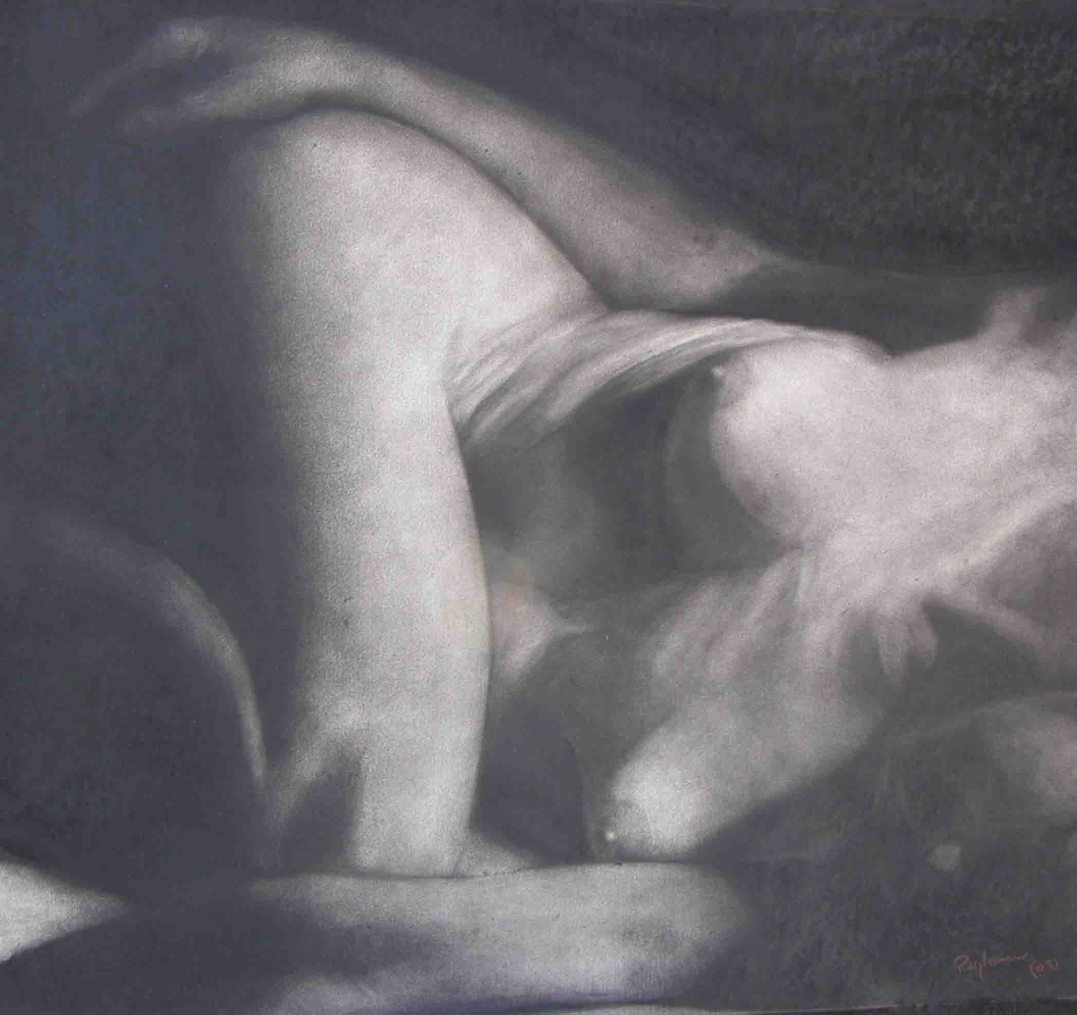 Nude, charcoal on board