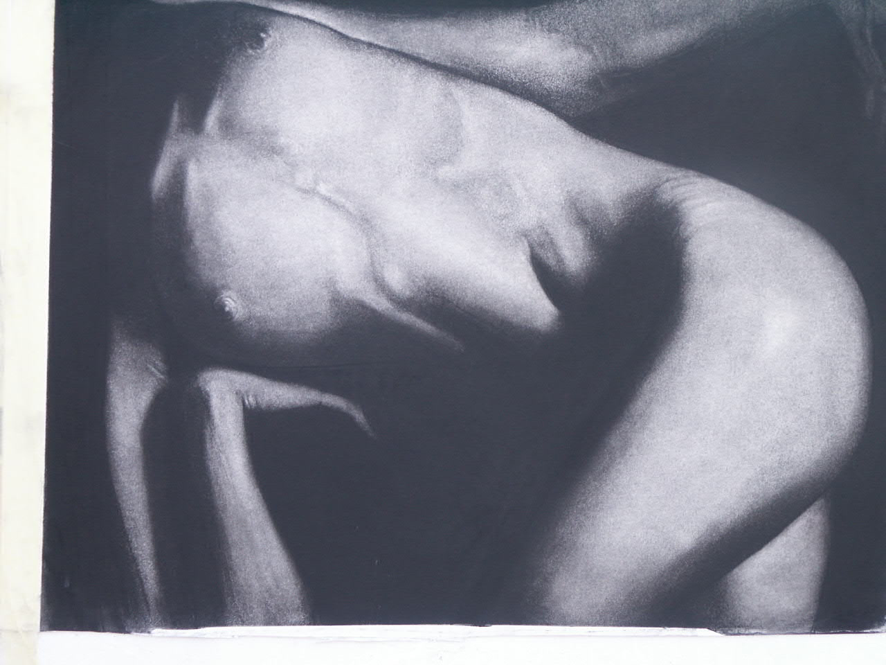 lying nude , Charcoal on board