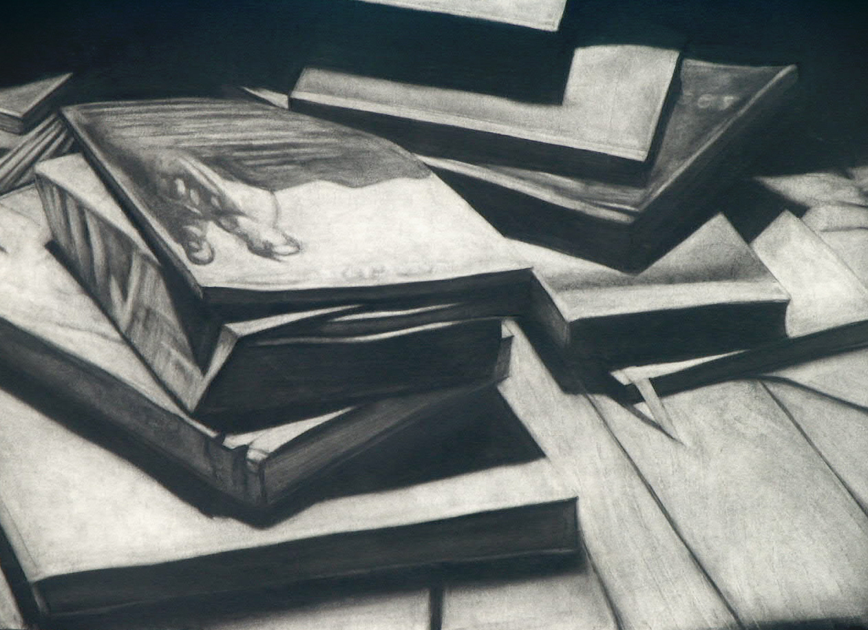 books charcoal on board 32 x 44 ins
