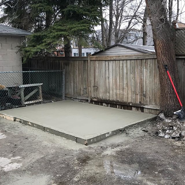 New concrete pad for garbage shed