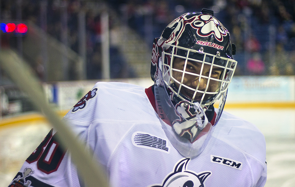 Niagara IceDog's goaltender Stephen Dhillon was all smiles during a stoppage in play.  PHOTO BY ALEX LUPUL