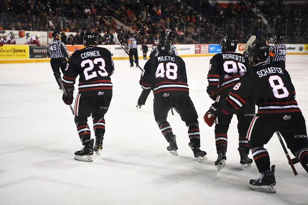 The Niagara IceDogs celebrate a goal during a game versus the Sault Ste. Marie Greyhounds, coming up short, losing 4-3. PHOTO BY ALEX LUPUL
