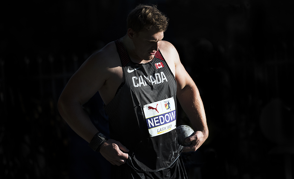 Canadian shot putter Tim Nedow pauses before a throw at the NACAC Championships in Toronto.