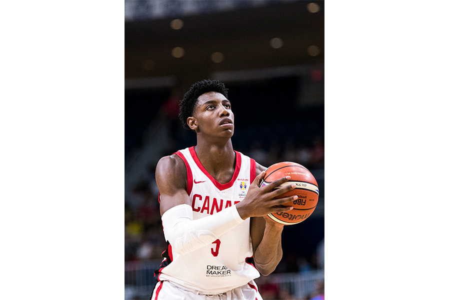 Team Canada guard and top NCAA recruit, R.J. Barrett, attempts a free throw.