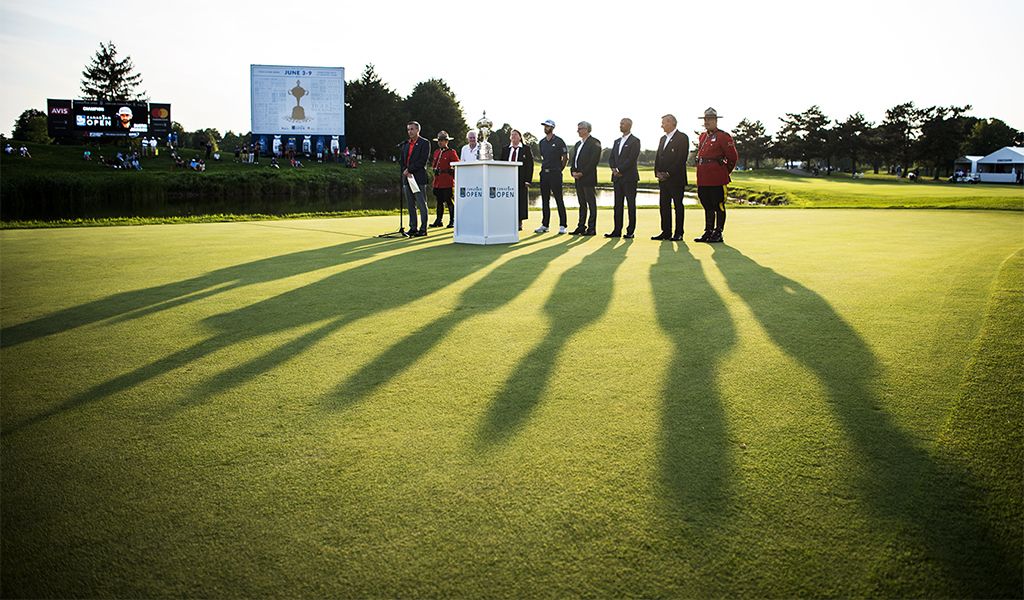 An award ceremony is held on the 18th green of Glen Abbey Golf Club during the RBC Canadian Open.