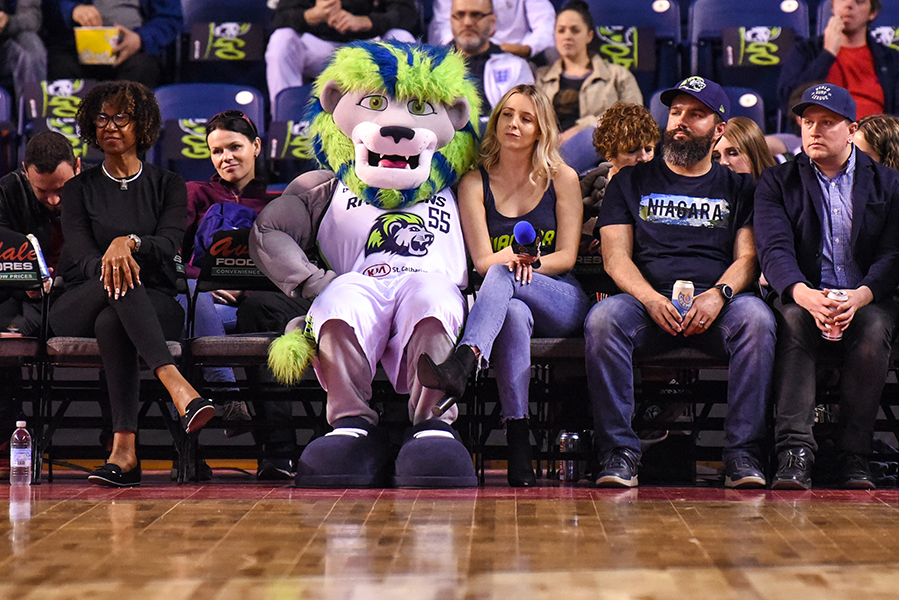 The Niagara River Lions' mascot, Dunkin, sits court-side during the team's game against the Edmonton Stingers. Niagara defeated Edmonton 108-66.
