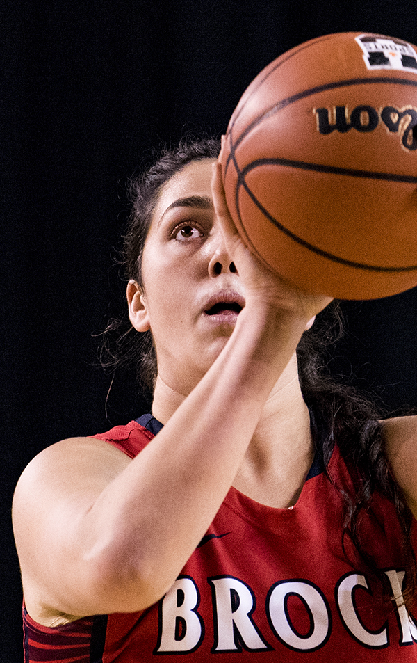 Brock Badgers forward, Sofia Croce (23), focuses on a free throw during OUA basketball action on November 17, 2018 at the Meridian Centre in St. Catharines, Ontario, Canada.