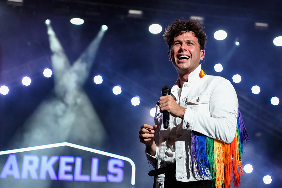 Max Kerman of the Arkells performs at Budweiser Stage in Toronto on June 22.