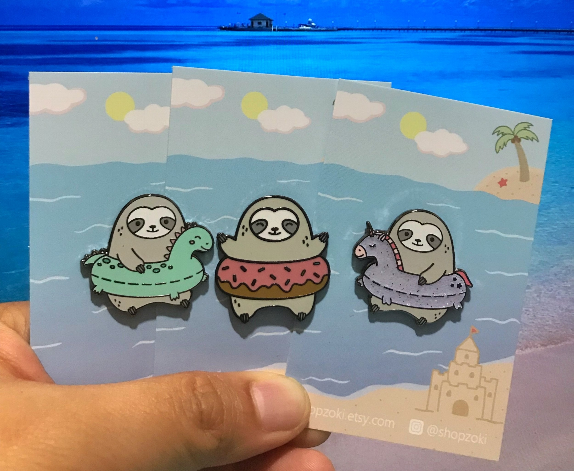 Many people know how much I love sloths, so when I had discovered this shop, I went crazy and bought every sloth pin she has.