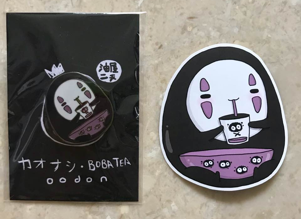 I found out about oodon through a local flea and started by buying stickers from him. I was so happy when he decided to make pins so I bought this cute no face bubble tea pin from him too!